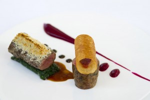 2 Kentish lamb fillet with beetroot puree gratin dauphinois and olive