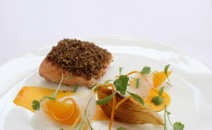 4 Pave of salmon with citrus fruits
